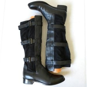 Cole Haan Avalon black riding boots stretch